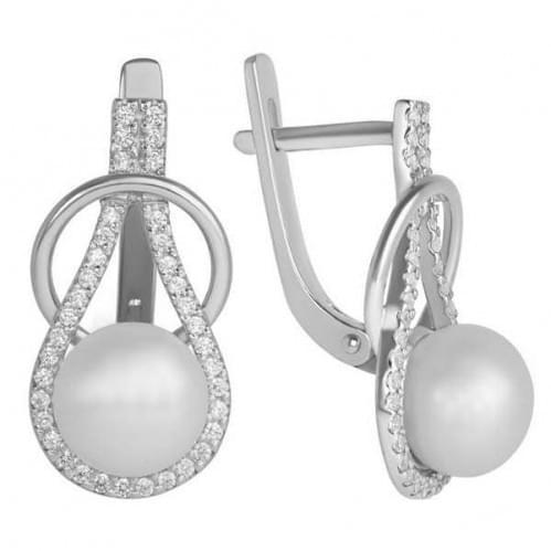 Срібні сережки з перлами СВ661с