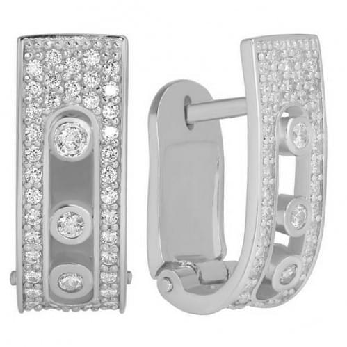 Серебряные серьги с фианитом СВ677с