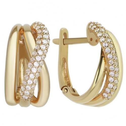 Золотые серьги с фианитом СВ743и