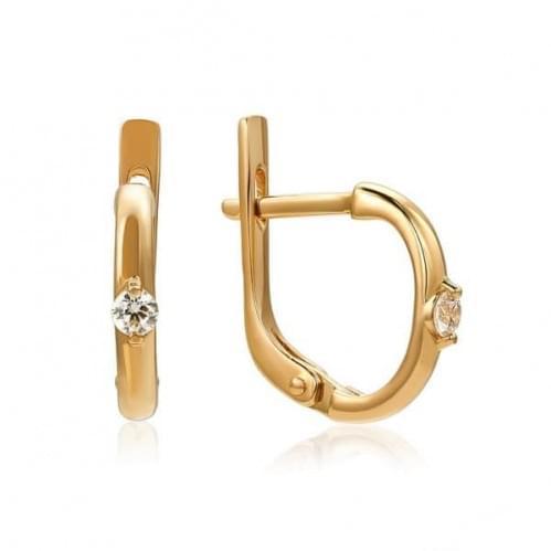 Золотые серьги с фианитом СВ762и