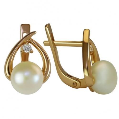 Золотые серьги с жемчугом СВ784и