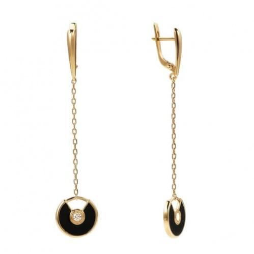 Золоті сережки з емаллю СВ790и