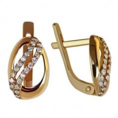 Золотые серьги с фианитом СВ794и