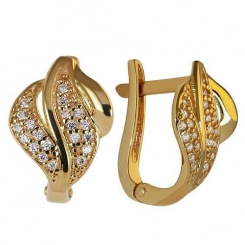 Золотые серьги с фианитом СВ799и
