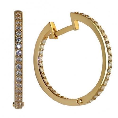 Золотые серьги с фианитом СВ801и