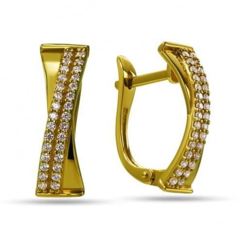 Сережки з лимонного золота з фіанітом СВ825Ли
