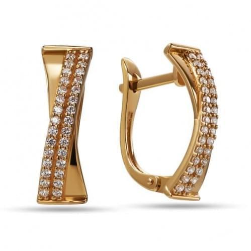 Золотые серьги с фианитом СВ825и