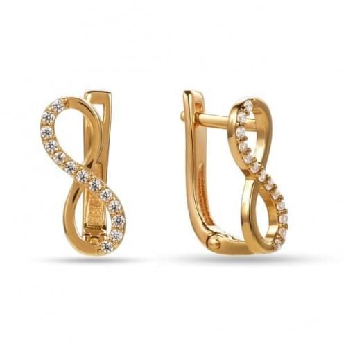 Золотые серьги с фианитом СВ875и