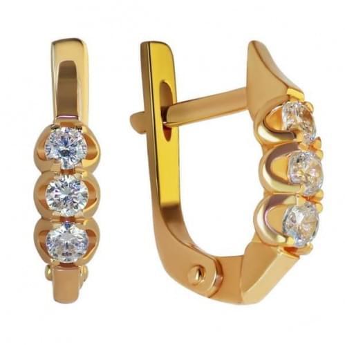 Золотые серьги с фианитом СВ901и