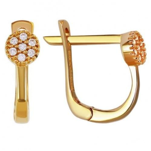 Золотые серьги с фианитом СВ915и