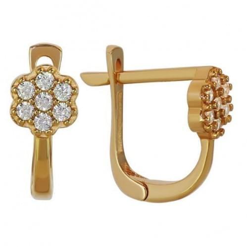Золотые серьги с фианитом СВ916и