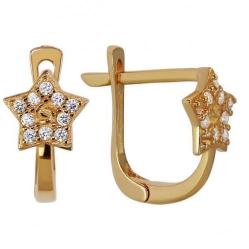 Золотые серьги с фианитом СВ919и