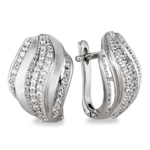 Срібні сережки з фіанітом СВ920с