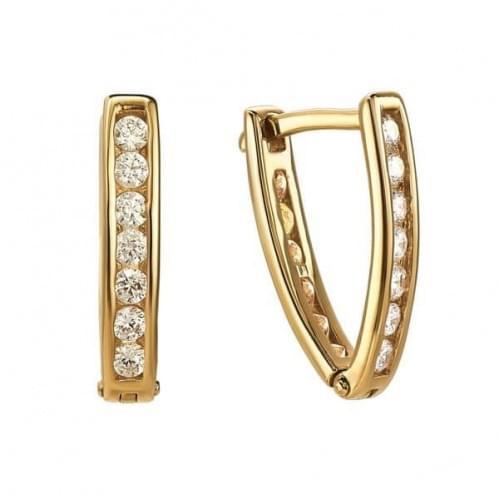 Золотые серьги с фианитом СВ924и