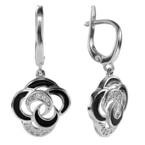 Серебряные серьги с эмалью СВ932с