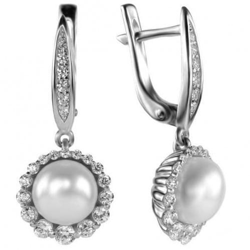 Срібні сережки з перлами і фіанітами СВ935с