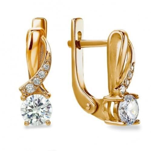 Золотые серьги с фианитом СВ941и