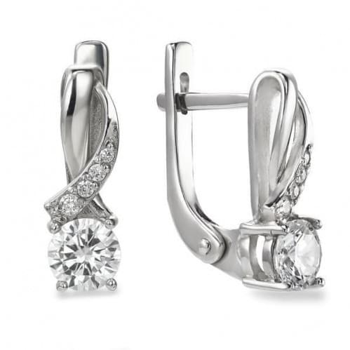 Срібні сережки з фіанітом СВ941с