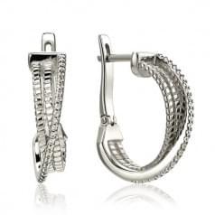 Срібні сережки з фіанітом