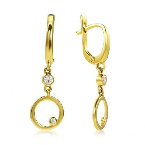 Сережки з лимонного золота з фіанітом СВ983(3)Ли