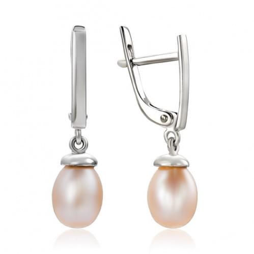Сережки з білого золота з перлами СВ987Бр