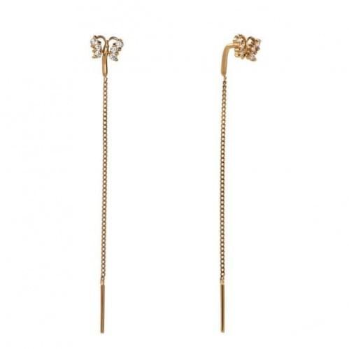 Золоті сережки-протяжки з фіанітом СПП100и