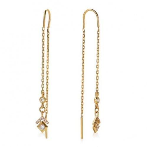 Золоті сережки-протяжки з фіанітом СПП1366и