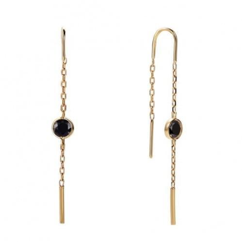 Золоті сережки-протяжки з фіанітом СПП255.10и