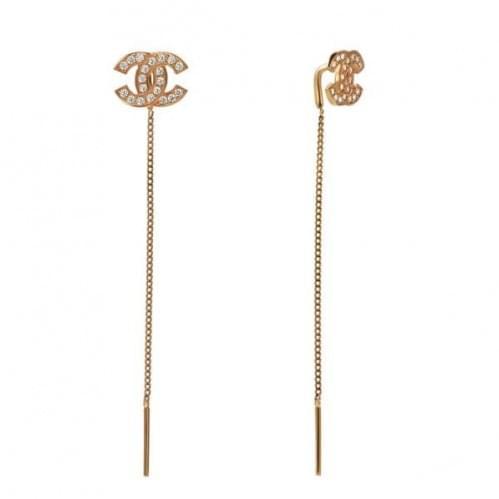 Золотые серьги-протяжки с фианитом СПП278и