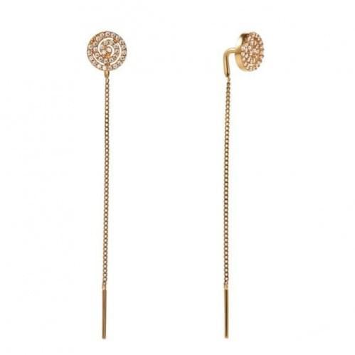Золоті сережки-протяжки з фіанітом СПП287и