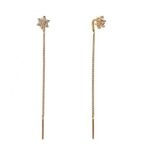 Золоті сережки-протяжки з фіанітом СПП484и