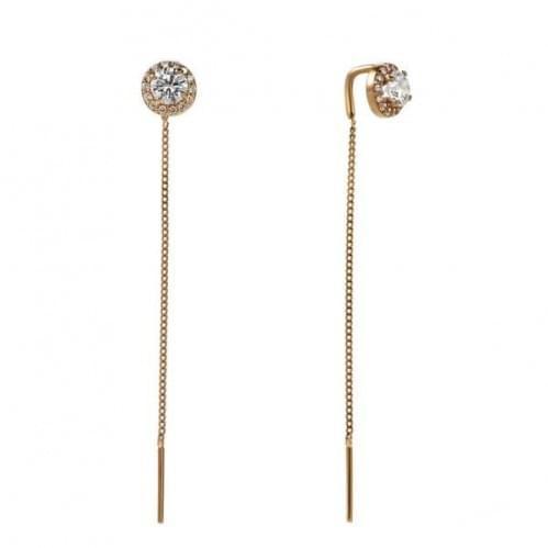 Золоті сережки-протяжки з фіанітом СПП899(м)и