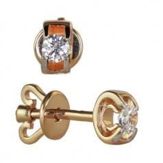 Золотые серьги-гвоздики(пусеты) с бриллиантами
