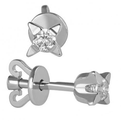 Серебряные пусеты с фианитом СП1107с