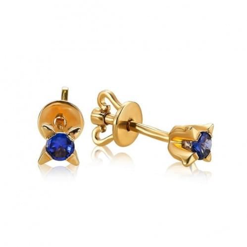 Золотые пусеты с сапфиром СП1107.10702н