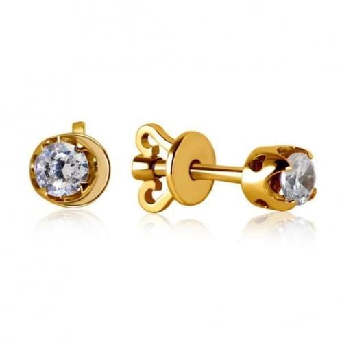 Золотые серьги с бриллиантом СП1109.00100н