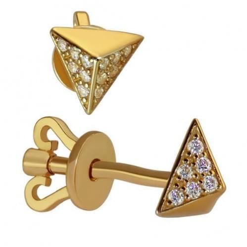 Золотые пусеты с фианитом СП1139и