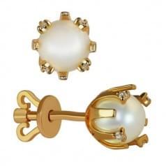 Золоті пусети з перлами