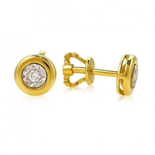 Пусеты из лимонного золота с бриллиантом СП1231.00100Лн