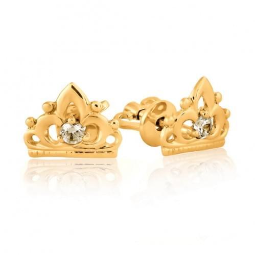 Золотые пусеты с фианитом СП126и