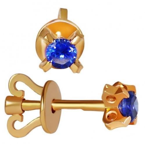 Золотые пусеты с фианитом СП127и
