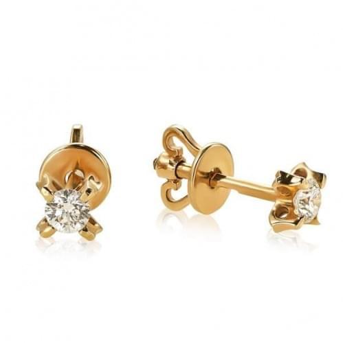 Золотые серьги с бриллиантом СП127.00100н