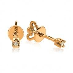 Пуссеты золотые с Бриллиантом (сережки-гвоздики)