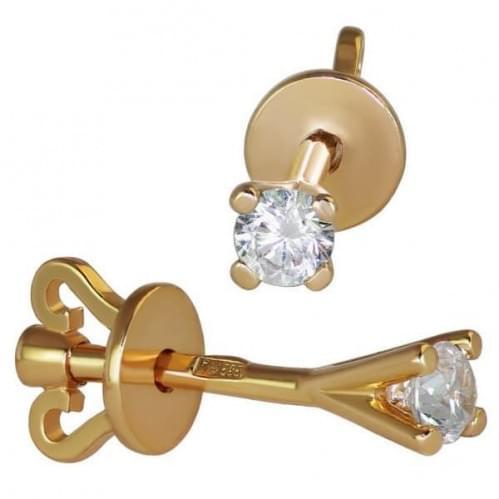 Золотые пусеты с фианитом СП129и