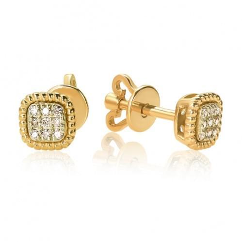 Пусеты из лимонного золота с бриллиантом СП1300.00100Лн