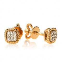 Золотые пусеты с бриллиантом