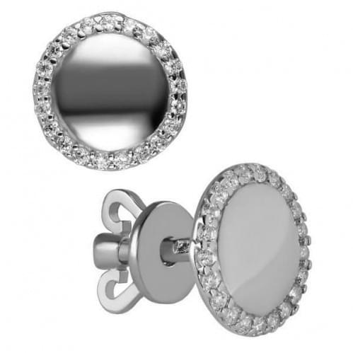 Серебряные пусеты с фианитом СП176с