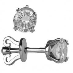 Серебряные пусеты с фианитом