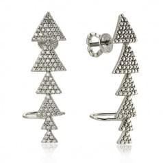 Пуссеты (серьги-гвоздики) серебряные со вставкой