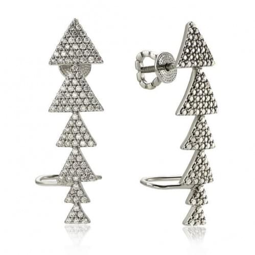 Серебряные пусеты с фианитом СП345с